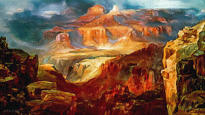 Painting - Painting An Evening In Grand Canyon by Bob and Nadine Johnston