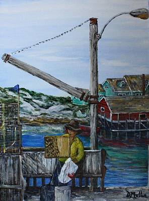Painting At Peggy's Cove Art Print by Donna Muller