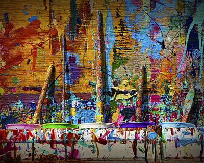 Paint Cans Photograph - Painting Brushes At A Child's Painting Easel by Randall Nyhof