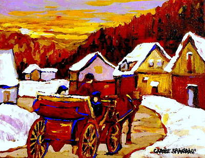 Caleche Painting - Painting Canadian Landscapes Red Sled Riders Home Before Sunset Quebec Landscape Paintings  by Carole Spandau