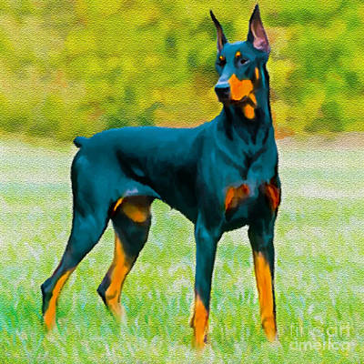 Painting Doberman Pincher Original by Bob and Nadine Johnston