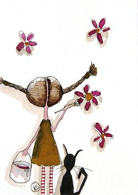 Painting Flowers Art Print by Lucia Stewart