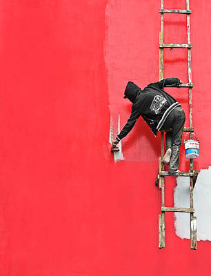 Painted Wall Art - Photograph - Painting In Progress by Sebastian Kisworo
