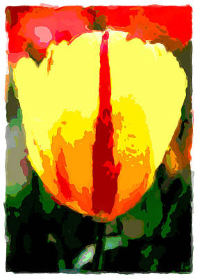 Digital Art - Painting Of A Bright  Yellow Tulip by David Perry Lawrence