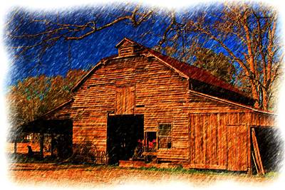 Photograph - Painting Of A Cajun Barn by Ronald Olivier