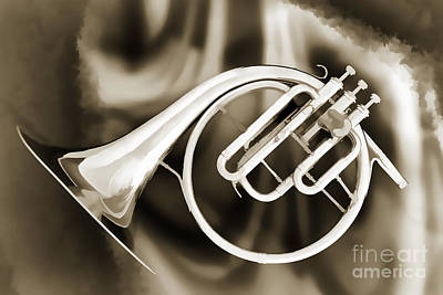 Painting - Painting Of A French Horn Antique Classic In Sepia 3430.01 by M K  Miller