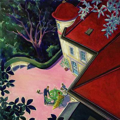 Husband Digital Art - Painting Of A House With A Patio by Walter Buehr