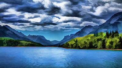 Painting Of A Lake And Mountains Art Print by Ron Harris