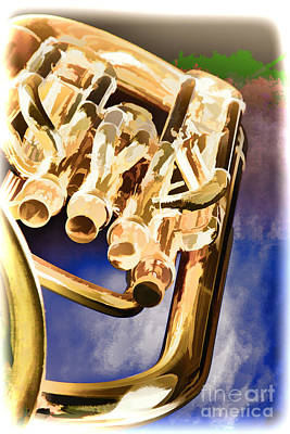 Painting - Painting Of A Music Tuba Brass Instrument In Color 3283.02 by M K  Miller
