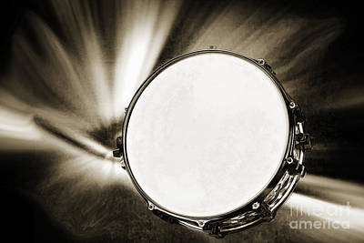 Drum Set Art Painting - Painting Of A Snare Drum For Drum Set In Sepia 3246.01 by M K  Miller