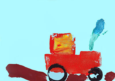 Artist Working Photograph - Painting Of A Truck In Childrens Style by Fizzy Image