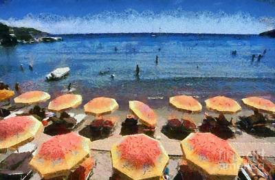 Sunshade Painting - Agia Marina Beach by George Atsametakis