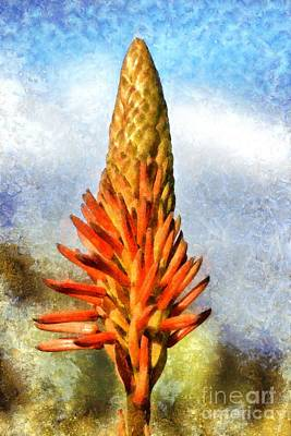 Painting - Painting Of Aloe Vera Flowers by George Atsametakis