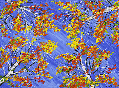 Painting - Painting Of Birch Trees And Blue Sky by Keith Webber Jr