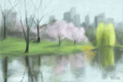 Painting Of Central Park In Spring Print by Beverly Brown