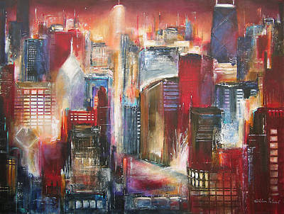 Painting Of Chicago - Chicago River Skyline Original