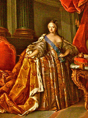 Catherine Palace In Russia Photograph - Painting Of Empress Catherine The Great In Catherine's Palace In Pushkin-russia by Ruth Hager