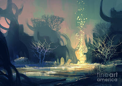 Light Digital Art - Painting Of Fantasy Landscape With by Tithi Luadthong