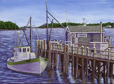 Fishing Boat Docked In Boothbay Harbor Maine Art Print