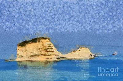 Painting - Islet In Peroulades Area by George Atsametakis