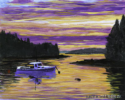 Lobster Boat Maine Painting - Lobster Boat In Port Clyde Maine At Sunset by Keith Webber Jr
