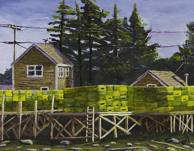 Maine Shore Painting - Lobster Traps In Port Clyde Maine by Keith Webber Jr