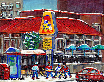 After School Hockey Painting - Painting Of Montreal Streets Hockey Near The Bar B Q Restaurant Street Hockey Game By Carole Spandau by Carole Spandau