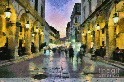 Painting - Old City Of Corfu During Dusk Time by George Atsametakis