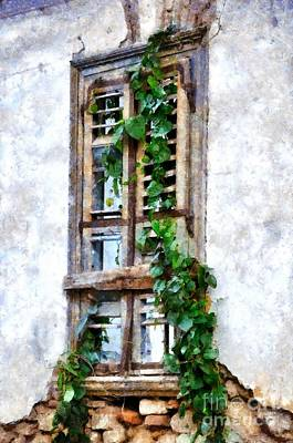 Painting - Painting Of Old Window by George Atsametakis