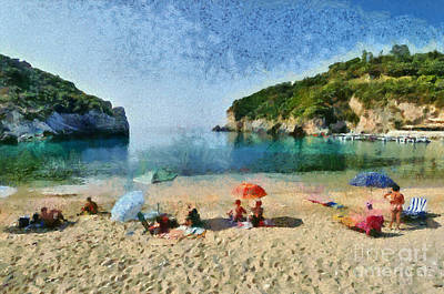 Painting - Paleokastritsa Beach by George Atsametakis