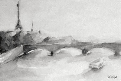 Monochrome Painting - Painting Of Paris Bridge On The Seine With Eiffel Tower by Beverly Brown