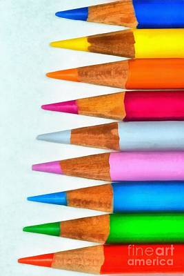 Still-life Painting - Painting Of Pencils by George Atsametakis