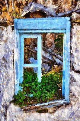 Greece Painting - Painting Of Ruined Window by George Atsametakis