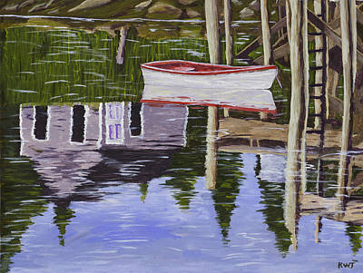 Skiff Painting - Small Boat And Water Reflections In Maine by Keith Webber Jr