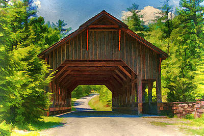 Painting - Painting Of The Covered Bridge At Dupont State Forest by John Haldane