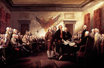 Revolutionary War Of 1776 Painting - Painting Of The Signing by Vintage Images