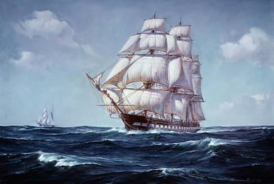 Constitution Painting - Painting Of The Square Rigged Frigate by Vintage Images