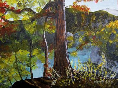 Painting Of Tree Of Golden Light Art Print by Judy Via-Wolff