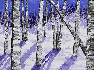 Snowy Day Painting - Painting Of White Birch Trees In Winter by Keith Webber Jr