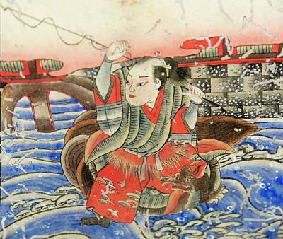 Painting On Wood Block Depicting Old Art Print by Keren Su
