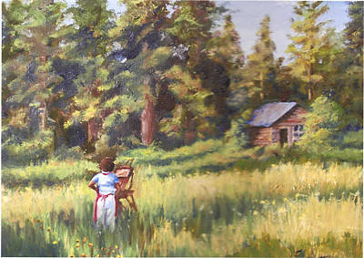 Painting Plein Aire In Idaho Art Print by Harriett Masterson