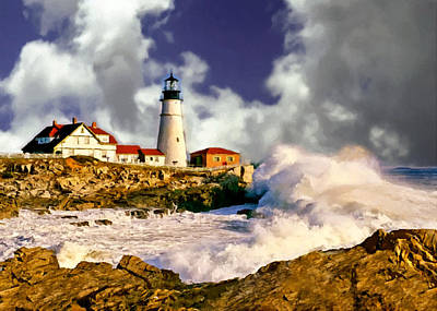 Painting - Painting Portland Headlight Maine by Bob and Nadine Johnston
