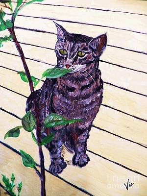 Painting - Painting   Snugs On The Deck by Judy Via-Wolff