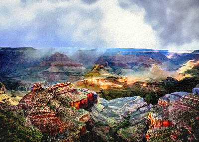 Grand Canyon Mixed Media - Painting The Grand Canyon by Bob and Nadine Johnston