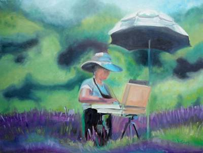 Winery Painting - Painting The Lavender Fields by Donna Tuten