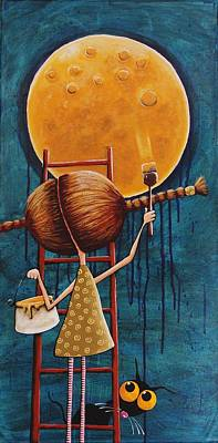 Stressie Cat Painting - Painting The Moon by Lucia Stewart