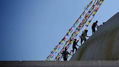 Photograph - Painting The Stupa by Greg Holden