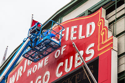 Photograph - Painting The Wrigley Field Marquee by Tom Gort