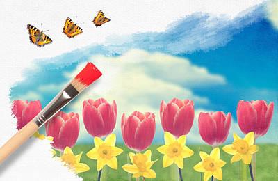 Painting Tulips Print by Amanda Elwell