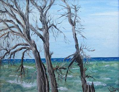 Art Print featuring the painting Painting - Waiting For Spring - Lake Ontario by Judy Via-Wolff